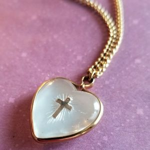 Vintage cross heart necklace moonglow gold tone